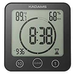 KADAMS Digital Bathroom Shower Kitchen Wall Clock Timer with Alarm, Waterproof for Water Spray, Touch Screen Timer, Temperature Humidity Display with Suction Cup Hanging Hole Shelf Stand - Black