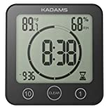 digital kitchen clock and timer - [Newest Version] KADAMS Digital Clock Timer with Alarm, Waterproof for Water Spray for Bathroom Shower Kitchen, Touch Screen Timer, Temperature Humidity Display, Suction Cup Hanging Hole Stand [BLACK]