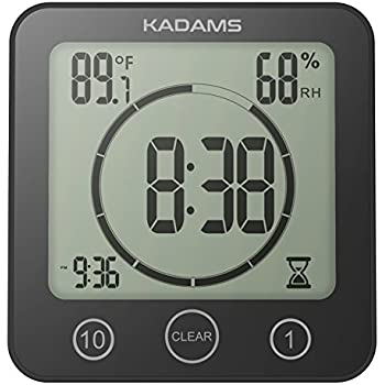 KADAMS Digital Bathroom Shower Kitchen Wall Clock Timer with Alarm,  Waterproof for Water Spray, Touch Screen Timer, Temperature Humidity  Display with