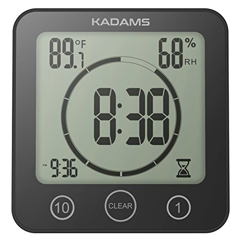 [Newest Version] KADAMS Digital Clock Timer with Alarm, Waterproof for Water Spray for Bathroom Shower Kitchen, Touch Screen Timer, Temperature Humidity Display, Suction Cup Hanging Hole Stand [BLACK] (Due Countdown Date)