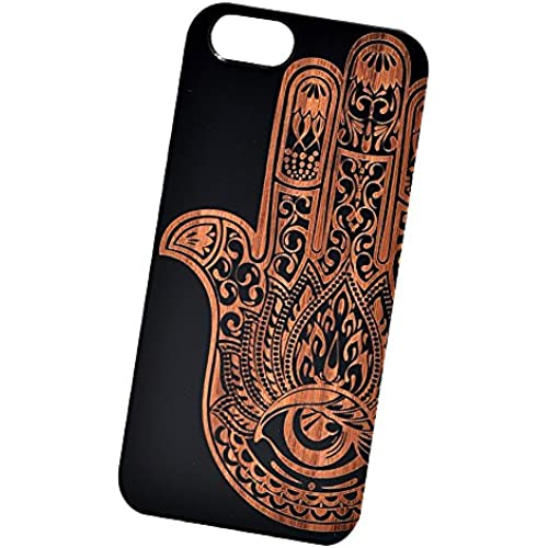 Mandala Hamsa Evil Eye Engraved Black Bamboo Cover for iPhone and Samsung phones - Samsung Galaxy s7 Edge Sales