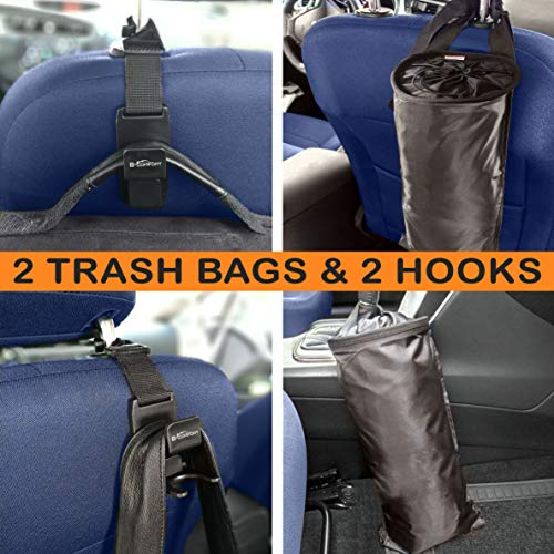 - B-comfort 2 Pack Car Trash Bags-Hanging Garbage Can-Waste Container-Front-Back Seat Storage Organizer-with Bonus 2 Vehicle Headrest Hooks Hangers Purse Holders-Universal Use for Auto,Truck,SUV