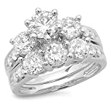 3.10 Carat (ctw) 14K White Gold Round Diamond Ladies Bridal 3 Stone Engagement Ring With Matching Band Set 3 1/10 CT (Size 7)