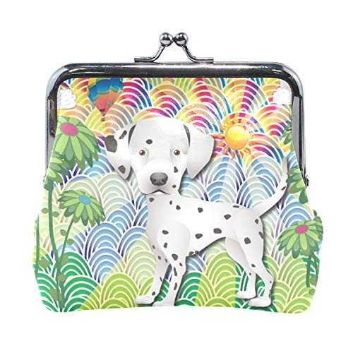 JERECY Colorful Dalmation Puppg Dog Coin Purse Leather Mini Clutch Pouch Wallet for Women Girls