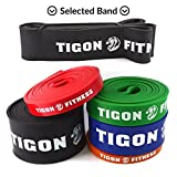 "Cheap Pull up Band from Tigon Fitness. perfect Assisted Chin ups, Dips, Resistance workout & Crossfit exercises. Full Body Training at your Home Gym, Portable with our Case, Improve your Core Strength Today!! (#5 [41"" * 2.5"" * 0.177""] Black 65-175 lbs)"