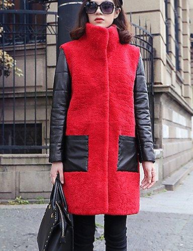 Cappotto di pelliccia Da donna Casual Inverno Semplice,Tinta