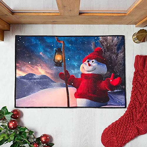 Mimgo-shop Unique Christmas Doormat Indoor/Outdoor Christmas Welcome Mat Rubber Backing Non-Slip for Xmas Home Decoration 23.6 x 15.7 (Red Sweater Snowman) (Mats Xmas Door)