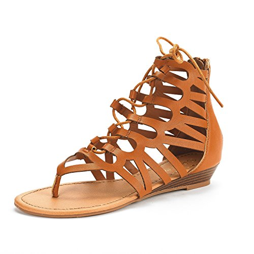 (DREAM PAIRS Women's TAJ Tan Pu Ankle Strap Gladiator Flat Sandals Size 9 M US)