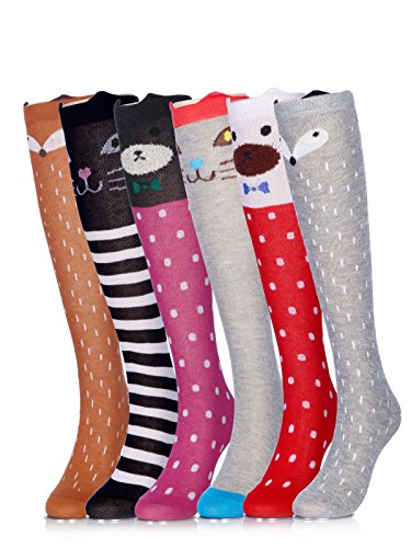 Girls Socks Knee High Stockings Cartoon Animal Warm Cotton Socks 6PCS 6a Colors One Size