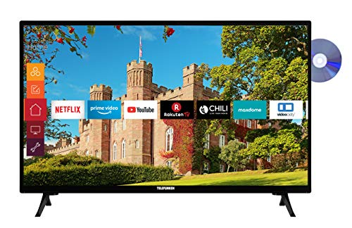 Telefunken XF32J519D 32 inch televisie (Smart TV incl. Prime Video/Netflix/YouTube, Full HD, DVD-speler, Bluetooth…