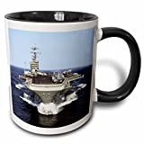 "3dRose mug_98636_4 ""The USS Truman Naval Shipjpg"" Two Tone Mug, 11 oz, Black/White"