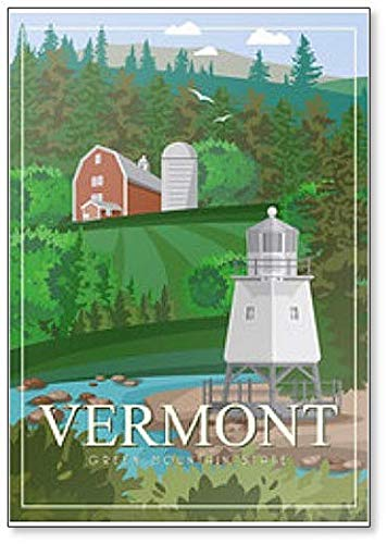 (Vermont USA Travel Illustration Fridge Magnet)