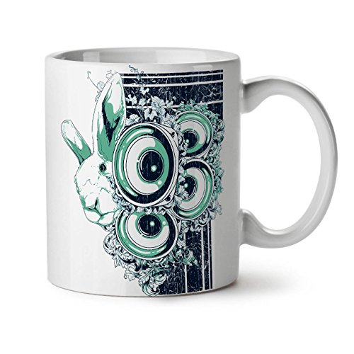 Animal Rabbit Bass Bunny White Tea Coffee Ceramic Mug 11 oz | ()