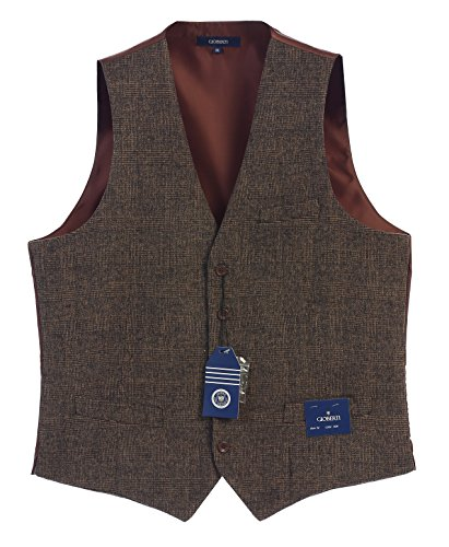 ton Formal Tweed Suit Vest, Brown Checked, Large ()