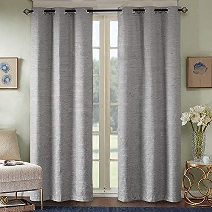 720af4eca262 Comfort Spaces - Grasscloth Window Curtain Pair Set of 2 Panels - Dark Gray  -