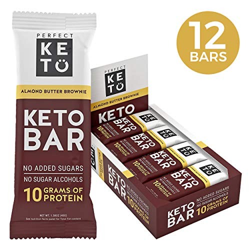 New! Perfect Keto Bar, Keto Snack (12 Count), No Added Sugar. 10g of Protein, Coconut Oil, and Collagen, with a Touch of Sea Salt and Stevia. (12 Bars, Almond Butter)