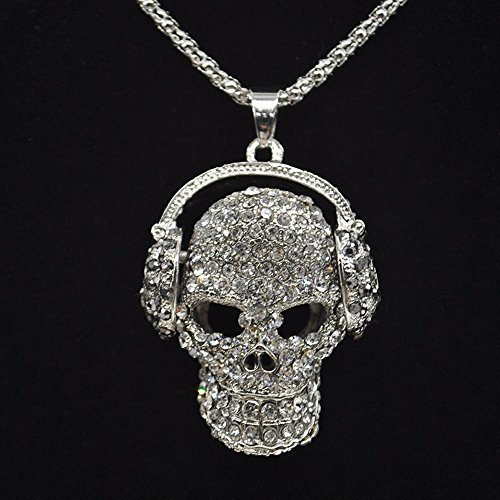 (Skull Style Jewelry Sweater Chain Necklace Rhinestone Pendant Women)