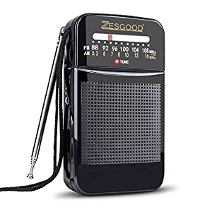 ZesGood Portable Radio AM FM Radio Battery Operated for Walking Hiking Camping Powered by 2AA Battery