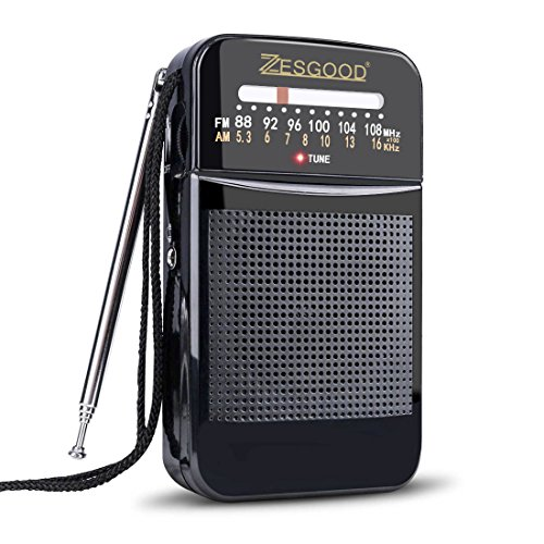 ZesGood Portable Transistor Radio Battery Operated AM FM Radio Portable for Walking Hiking Camping Powered by 2AA Battery, Easy Tuning, Power Saving (Best Battery Powered Portable Radio)