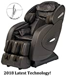 TOP OF THE LINE 2018 FULLY LOADED FR-9K'S UNIQUE 3D HEATED L TRACK ROLLING SYSTEM, ZERO GRAVITY SPACE SAVING MASSAGE CHAIR, BLUETOOTH SPEAKERS, FOOT ROLLING AND MUCH MORE. (DARK BROWN)