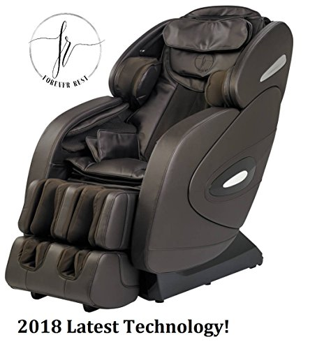3D TOP of The LINE with 6 Roller System FR-9Ks Unique Heated L Track Rolling System, Zero Gravity Space Saving Massage Chair, Bluetooth Speakers, Foot Rolling and Much More.(Dark Brown)