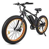 26' Black New Electric Fat Tire Bike Beach Snow Bicycle ebike 500w 36V/10Ah Electric Moped (Orange)