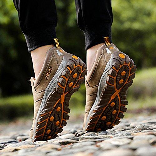 Loafers Casual Ginnastica Gracosy Scarpe All'aperto Pelle Escursionismo Montagna On Basse Trekking Sportive Slip Marrone Da In Uomo Bv7rpwqBZ