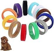 CoolMartus 12 Pcs Puppy ID Collars, Adjustable Dog Whelping Kitten Neck identification Bands Tag