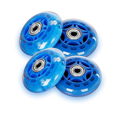 Rollerblade Replacement Wheels 64/70/76/80mm with LED Illuminating Lights, Bearings Included, Pack of 4 (Blue, 80mm)