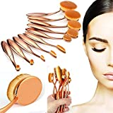 Nestling®10 Pieces Oval Makeup Brush Set Professional Foundation Concealer Blending Blush...
