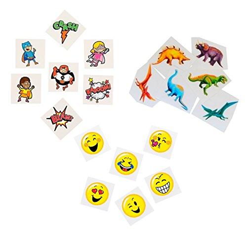 Kids Temporary Tattoo Set 108 Piece by Fun Express – Bundle with Cool Dinosaur Tattoos, Superhero Tattoos & Emoticon…