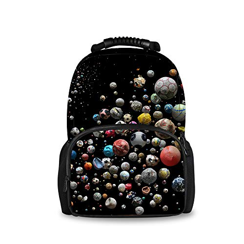 Universe Footballs Daypack With Side Pockets, Travel And Sport Backpack Rucksack Large Capacity College School Bookbag Anti-Theft Multipurpose for Girls Boys
