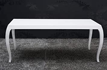 Casa Padrino Barock Esstisch Hochglanz Weiß 200cm   Esszimmer Tisch   Barock  Möbel Modern