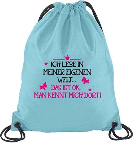 Meine eigene Welt, Unicorn Einhorn Prinzessin Turnbeutel Rucksack Sport Beutel Hellblau
