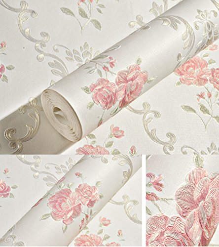 Embossed Rose Floral Contact Paper Self Adhesive Non-Woven Wallpaper Peel and Stick Wall Decor for Girls Living Room Bedroom Kitchen Bathroom Wall (Off White, 20.83