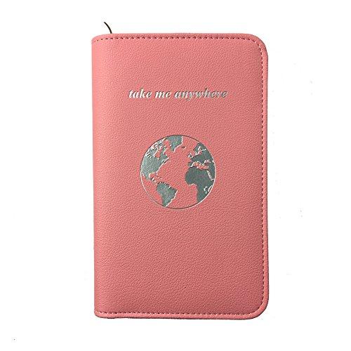 Phone Charging Passport Holder Travel Case w/Power Bank – iPhone, Galaxy & More - RFID Blocking (blush)