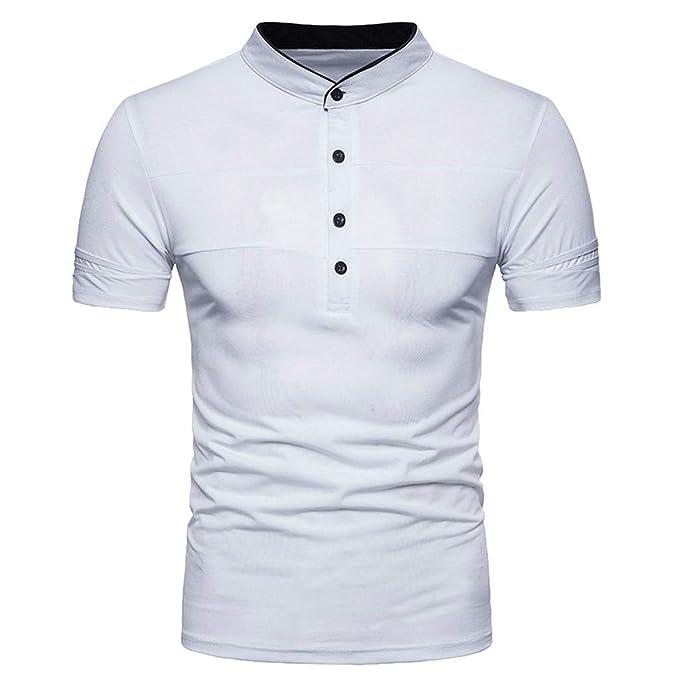 Beikoard_Camiseta Corta Hombre,Collar de pie,Manga Corta Polo(S-2XL)
