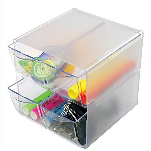 Deflecto Stackable Cube Organizer, 4 Drawers, Clear (350301) (Modular Craft Desk compare prices)