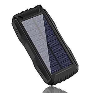 Solar Phone Charger, Tayinplus 25000mAh Portable Solar Charger External Battery Power Bank Waterproof Solar Charger, Solar Powered Charger with LED Light for Cell Phone, iPhone, iPad, Phones (Black)