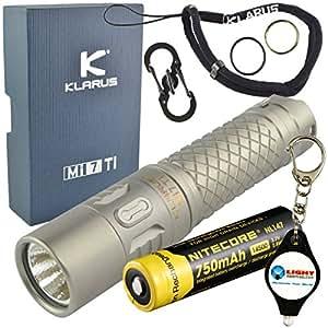 Klarus Mi7 Ti Keychain LED Flashlight Titanium 700 Lumens with NiteCore 14500 Li-Ion Battery and LightJunction Keychain Light