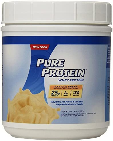Pure Protein Powder, Whey, High Protein, Low Sugar, Gluten Free, Vanilla Cream, 1 lb