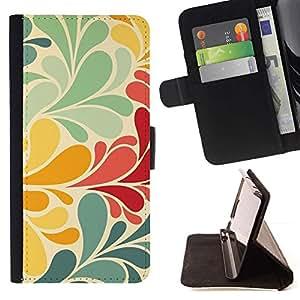 For Samsung Galaxy S5 V SM-G900 Case , Trullo Papel pintado verde del vintage amarillo- la tarjeta de Crédito Slots PU Funda de cuero Monedero caso cubierta de piel