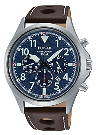 Pulsar Herren-Armbanduhr Solar Analog Quarz Leder PX5029X1