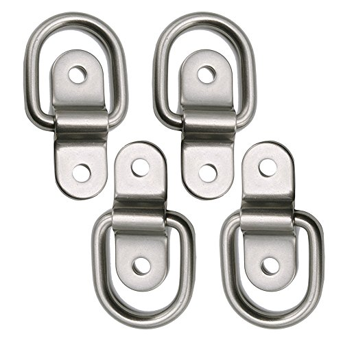 Bed Tie Down Hooks - D Ring Tie Downs Trailer Tie Down Anchors Ring Points Load 700lbs Surface Mount Bolt on D Ring Hooks Stainless Lashing Ring for Ratchet Tie Down Straps Atv Car Truck Bed Cargo Tie Downs (4x)