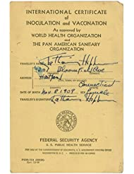 The African Queen Vaccination Certificate Autographed/Hand-Signed by Katharine Hepburn