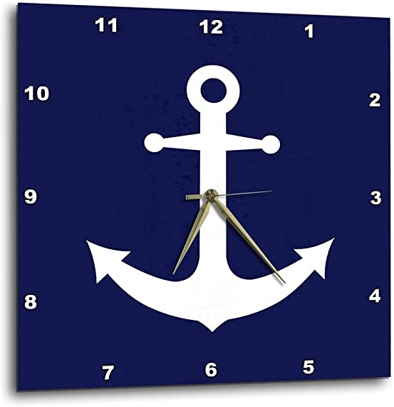 3dRose dpp_165798_1 Navy Blue and White Nautical Anchor Design-Wall Clock, 10 by 10-Inch
