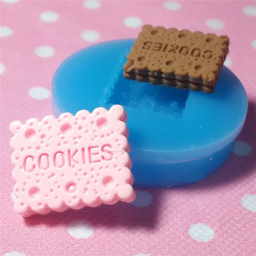 017LBQ Rectangular Cookie / Biscuit Flexible Silicone Mold Miniature Food Sweets (Clay, Fimo, Resins, Gum Paste)
