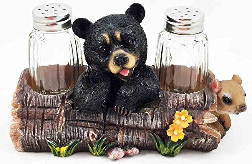 Black Baby Bear Playing With Log Figurine Salt Pepper Shakers Holder Stand Dining Table Centerpiece