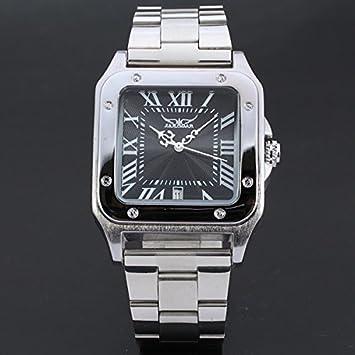 XKC-watches Relojes para Hombres, Relojes suizos Reloj mecánico automático Hueco de Cuero Cuadrado