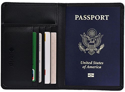Rfid Blocking Leather Passport Holder Cover   Travel Wallet Id Card Case  Black